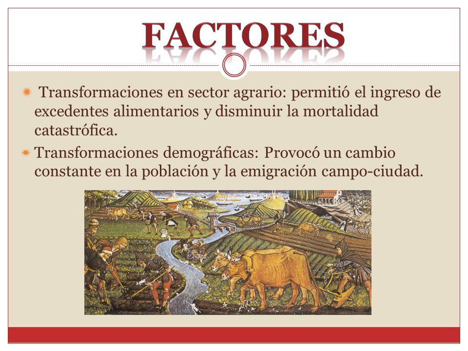 Transformaciones en sector agrario: permitió el ingreso de excedentes alimentarios y disminuir la mortalidad catastrófica. Transformaciones demográfic