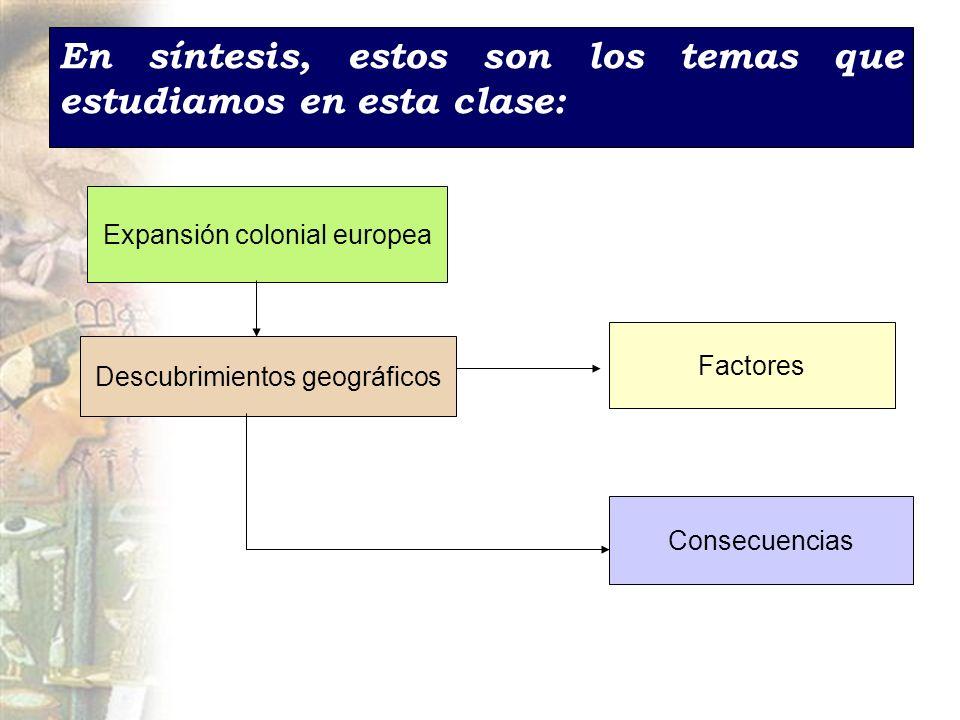 En síntesis, estos son los temas que estudiamos en esta clase: Expansión colonial europea Descubrimientos geográficos Factores Consecuencias