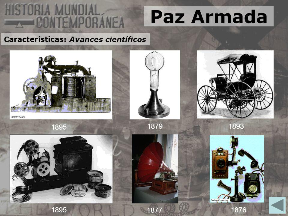 1895 18791893 1895 1877 1876 Paz Armada Características: Avances científicos