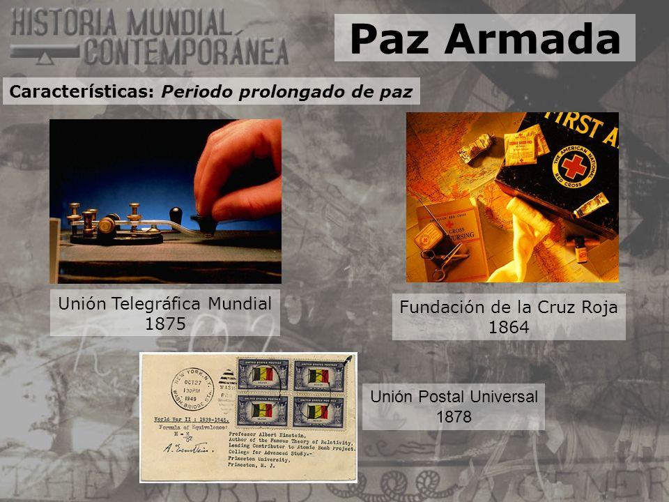 Fundación de la Cruz Roja 1864 Unión Telegráfica Mundial 1875 Unión Postal Universal 1878 Paz Armada Características: Periodo prolongado de paz
