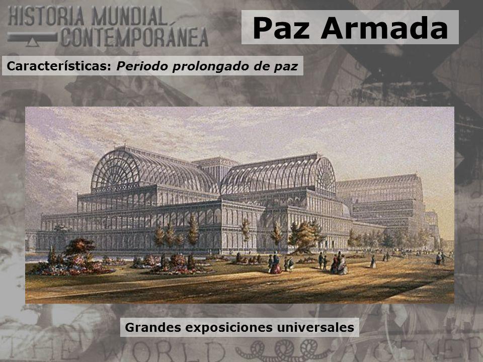 Grandes exposiciones universales Paz Armada Características: Periodo prolongado de paz