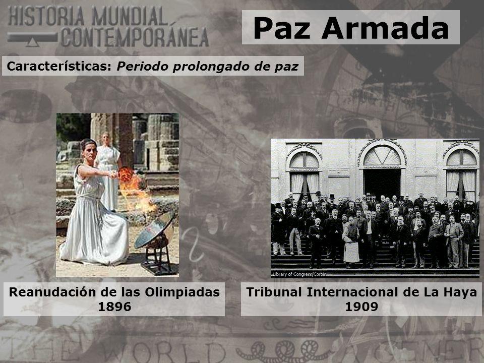 Reanudación de las Olimpiadas 1896 Tribunal Internacional de La Haya 1909 Paz Armada Características: Periodo prolongado de paz
