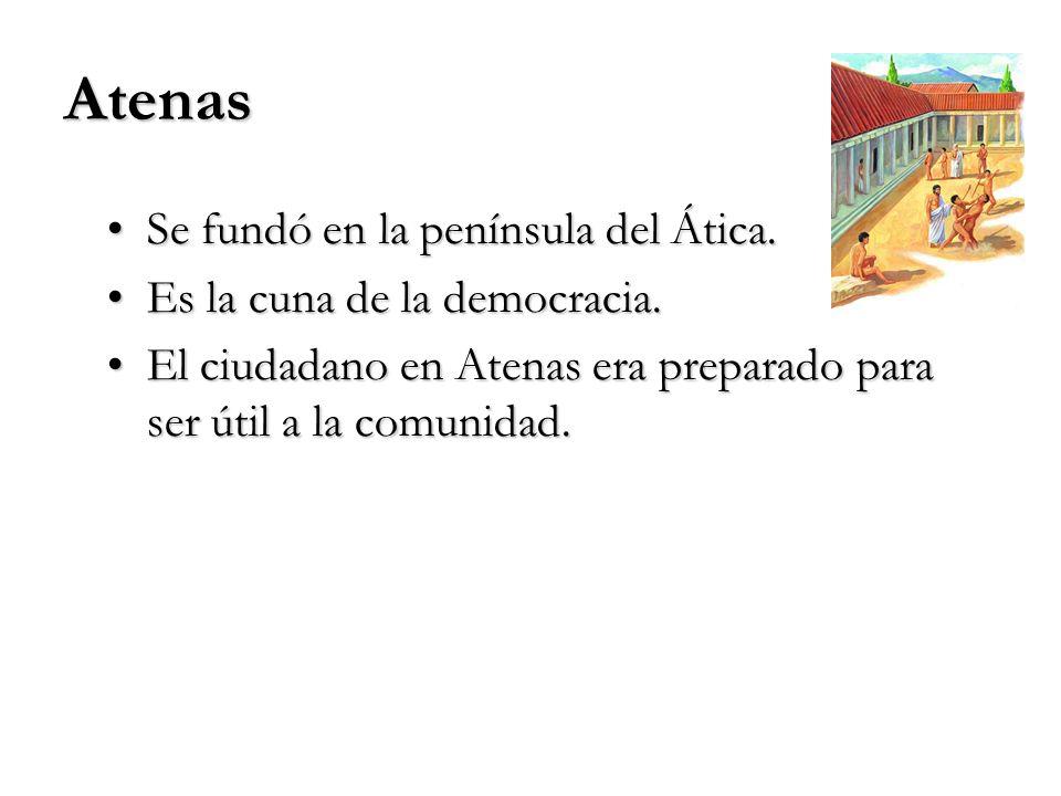 Atenas Se fundó en la península del Ática.Se fundó en la península del Ática. Es la cuna de la democracia.Es la cuna de la democracia. El ciudadano en