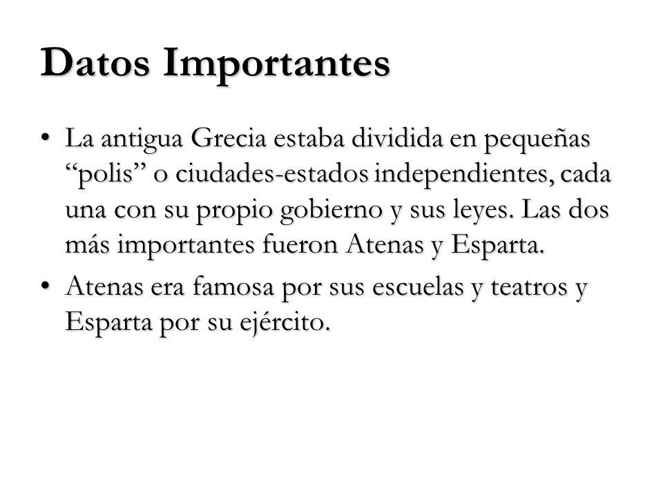 Datos Importantes La antigua Grecia estaba dividida en pequeñas polis o ciudades-estados independientes, cada una con su propio gobierno y sus leyes.
