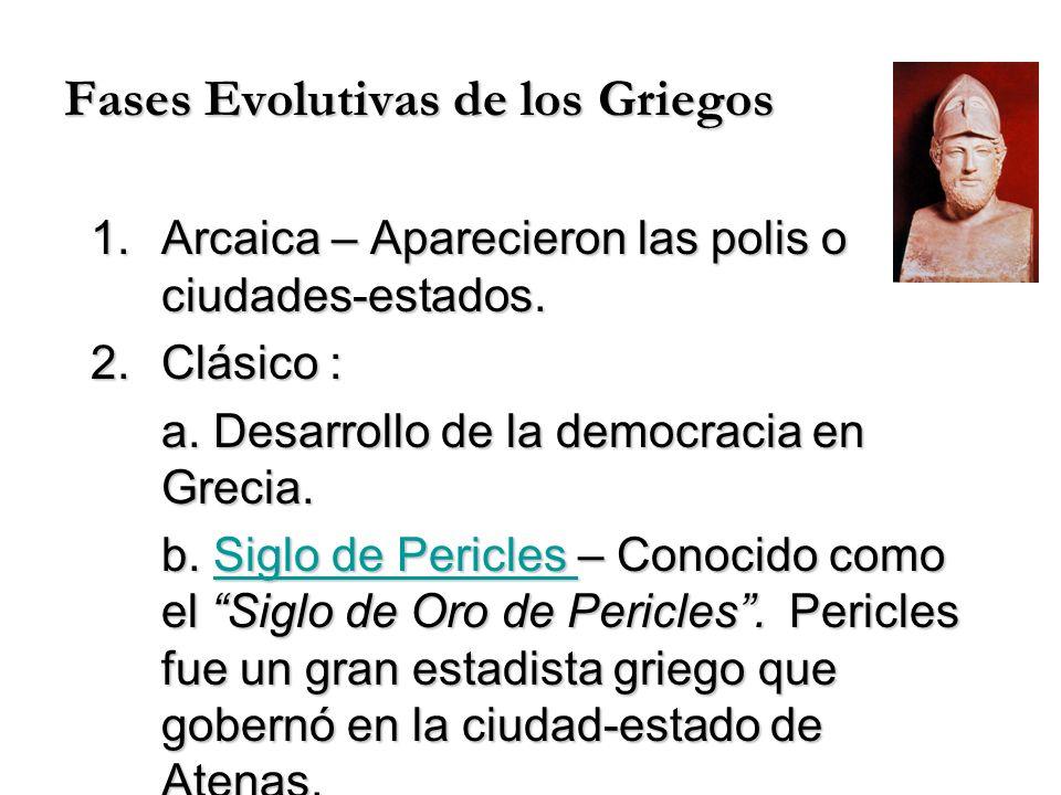 Fases Evolutivas de los Griegos 1.Arcaica – Aparecieron las polis o ciudades-estados. 2.Clásico : a. Desarrollo de la democracia en Grecia. b. Siglo d
