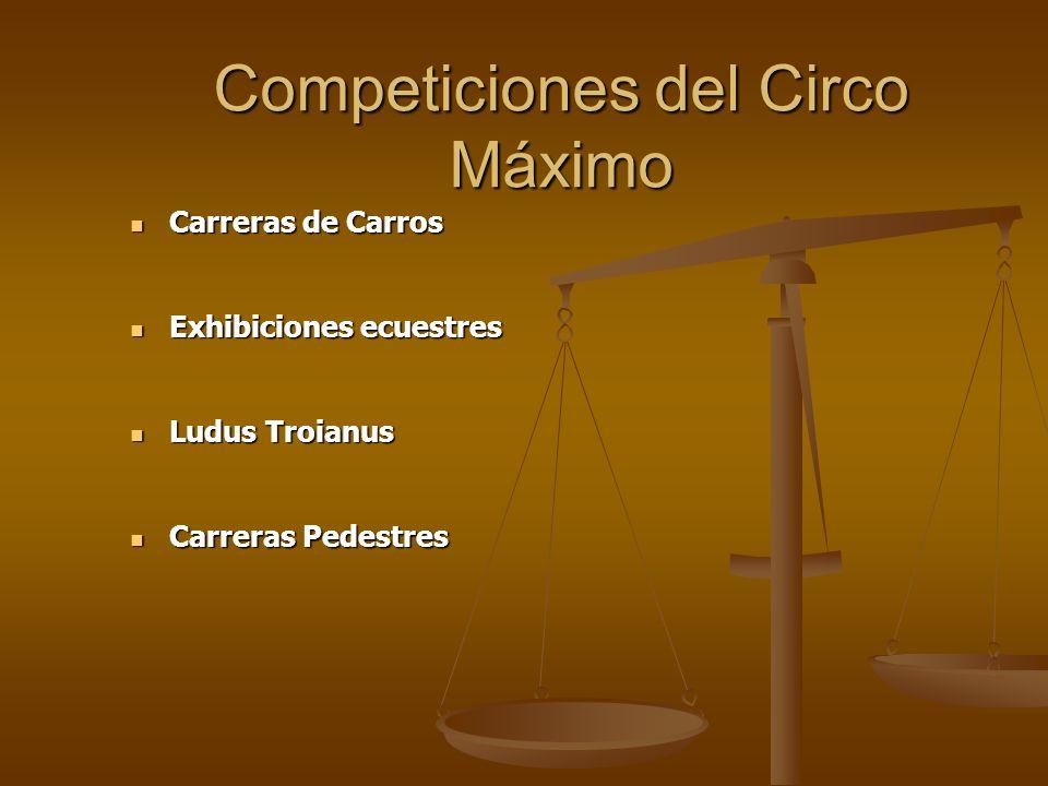Competiciones del Circo Máximo Carreras de Carros Carreras de Carros Exhibiciones ecuestres Exhibiciones ecuestres Ludus Troianus Ludus Troianus Carre