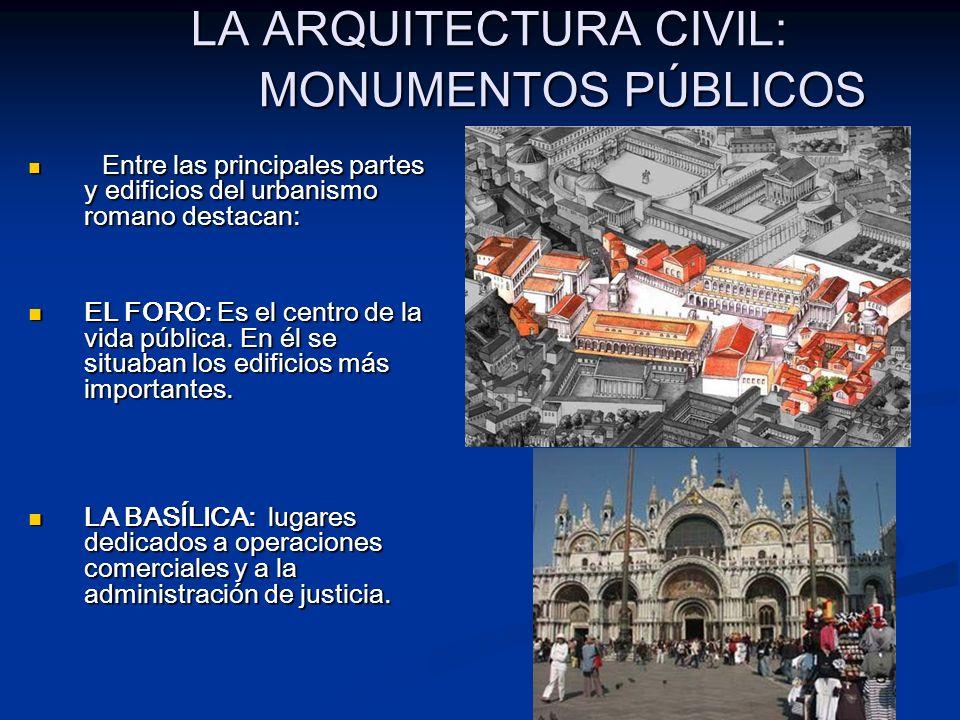 LA ARQUITECTURA CIVIL: MONUMENTOS PÚBLICOS Entre las principales partes y edificios del urbanismo romano destacan: Entre las principales partes y edif