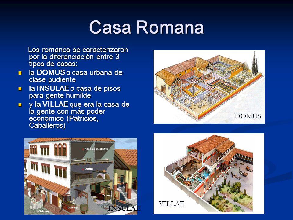 Casa Romana Los romanos se caracterizaron por la diferenciación entre 3 tipos de casas: Los romanos se caracterizaron por la diferenciación entre 3 ti