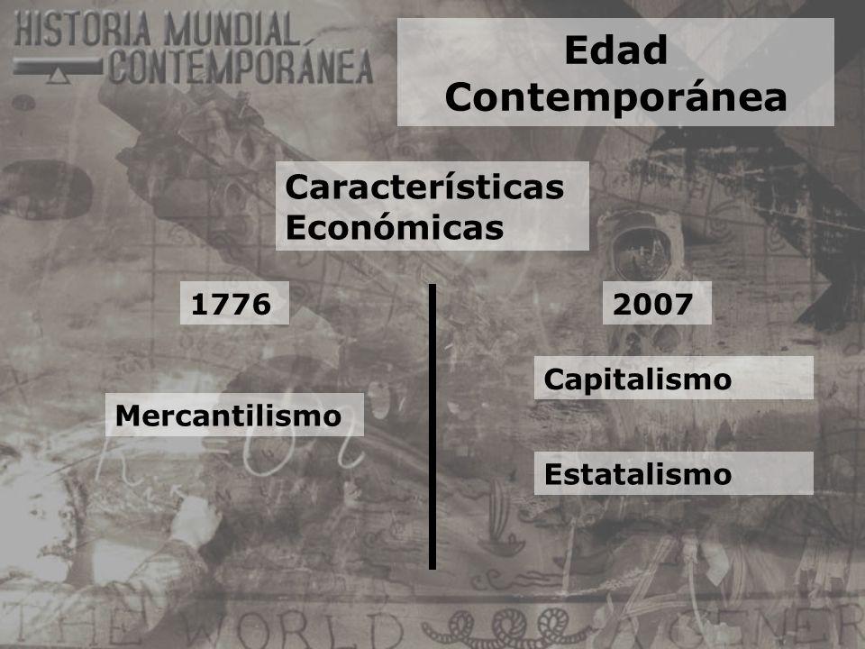 Edad Contemporánea Características Económicas 1776 Mercantilismo Estatalismo Capitalismo 2007