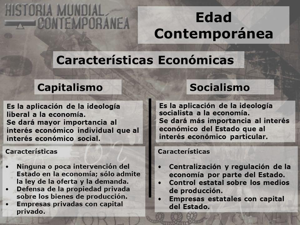 Edad Contemporánea Características Económicas Capitalismo Es la aplicación de la ideología liberal a la economía. Se dará mayor importancia al interés