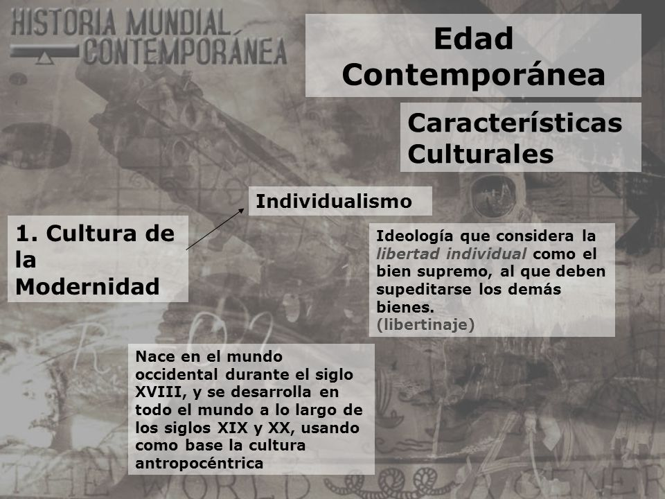 Edad Contemporánea Características Culturales 1. Cultura de la Modernidad Individualismo Ideología que considera la libertad individual como el bien s