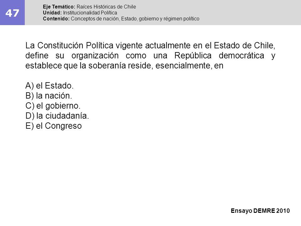 47 Eje Temático: Raíces Históricas de Chile Unidad: Institucionalidad Política Contenido: Conceptos de nación, Estado, gobierno y régimen político Ens
