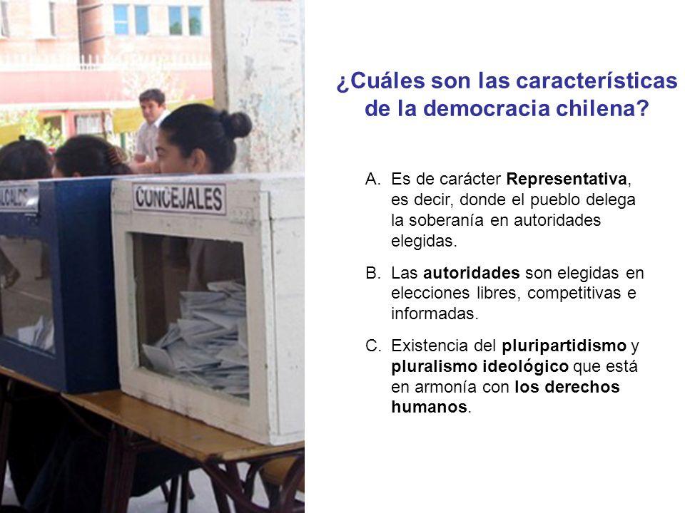 ¿Cuáles son las características de la democracia chilena? A.Es de carácter Representativa, es decir, donde el pueblo delega la soberanía en autoridade