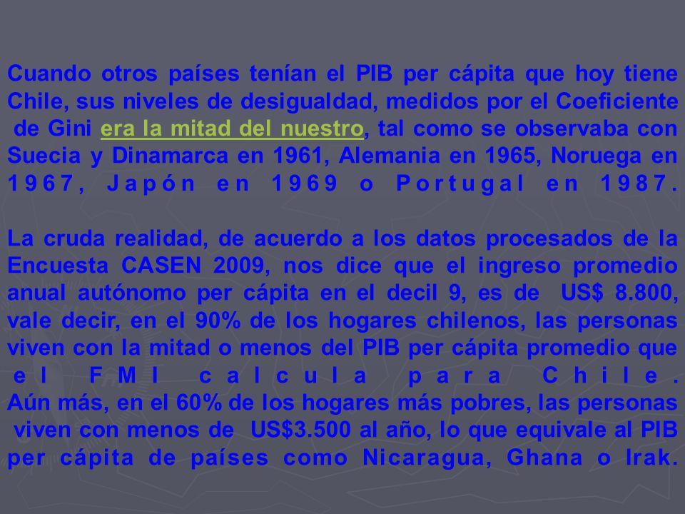 Cuando otros países tenían el PIB per cápita que hoy tiene Chile, sus niveles de desigualdad, medidos por el Coeficiente de Gini era la mitad del nues