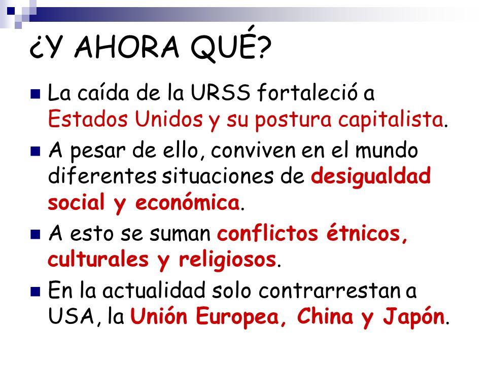 ¿Y AHORA QUÉ? La caída de la URSS fortaleció a Estados Unidos y su postura capitalista. A pesar de ello, conviven en el mundo diferentes situaciones d