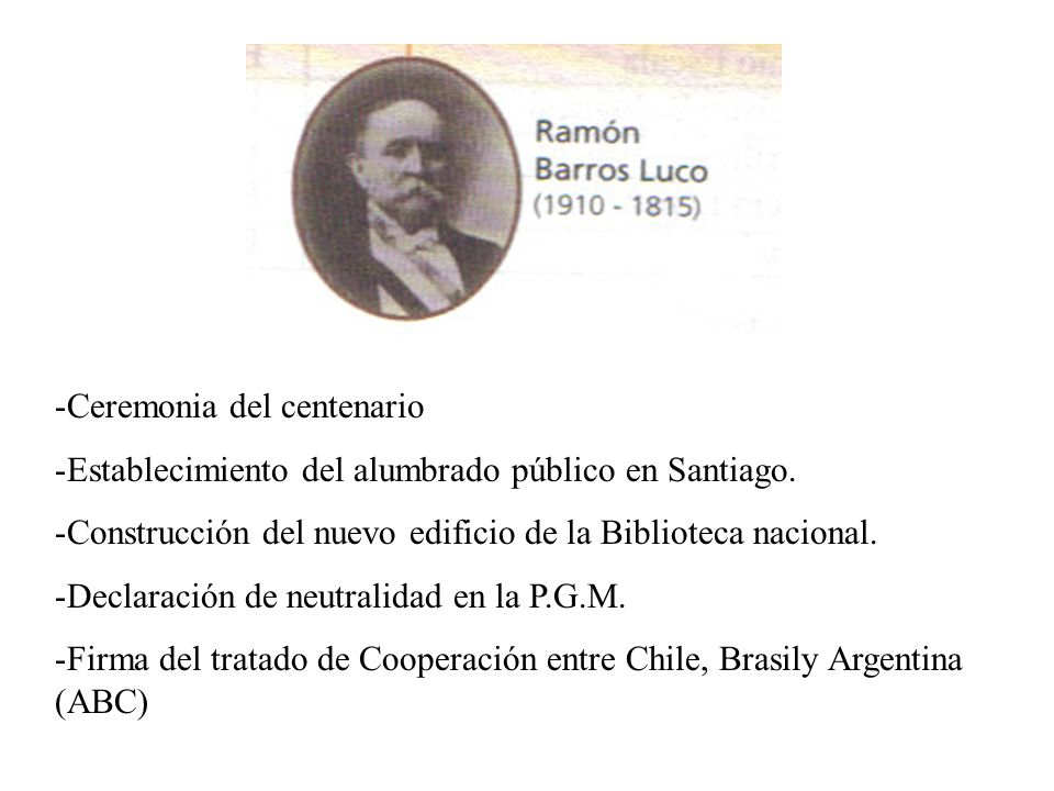-Ceremonia del centenario -Establecimiento del alumbrado público en Santiago. -Construcción del nuevo edificio de la Biblioteca nacional. -Declaración