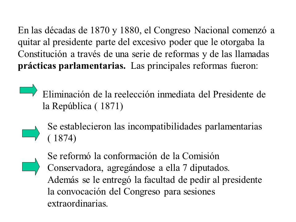En las décadas de 1870 y 1880, el Congreso Nacional comenzó a quitar al presidente parte del excesivo poder que le otorgaba la Constitución a través d