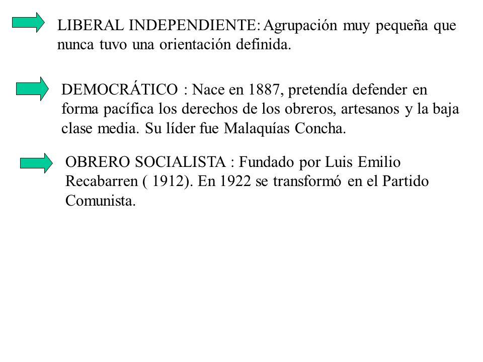 LIBERAL INDEPENDIENTE: Agrupación muy pequeña que nunca tuvo una orientación definida. DEMOCRÁTICO : Nace en 1887, pretendía defender en forma pacífic
