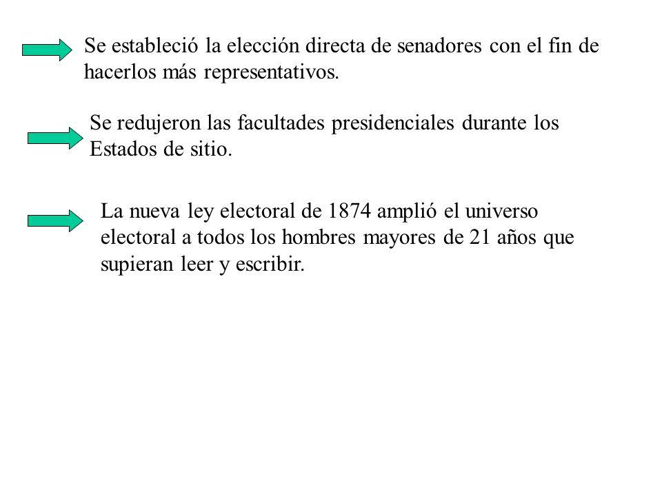 Se estableció la elección directa de senadores con el fin de hacerlos más representativos. Se redujeron las facultades presidenciales durante los Esta
