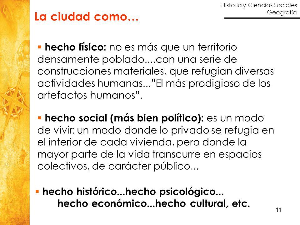Historia y Ciencias Sociales Geografía 11 hecho histórico...hecho psicológico... hecho económico...hecho cultural, etc. hecho físico: no es más que un