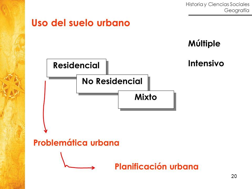 Historia y Ciencias Sociales Geografía 20 Uso del suelo urbano Múltiple Intensivo Residencial No Residencial Mixto Problemática urbana Planificación u