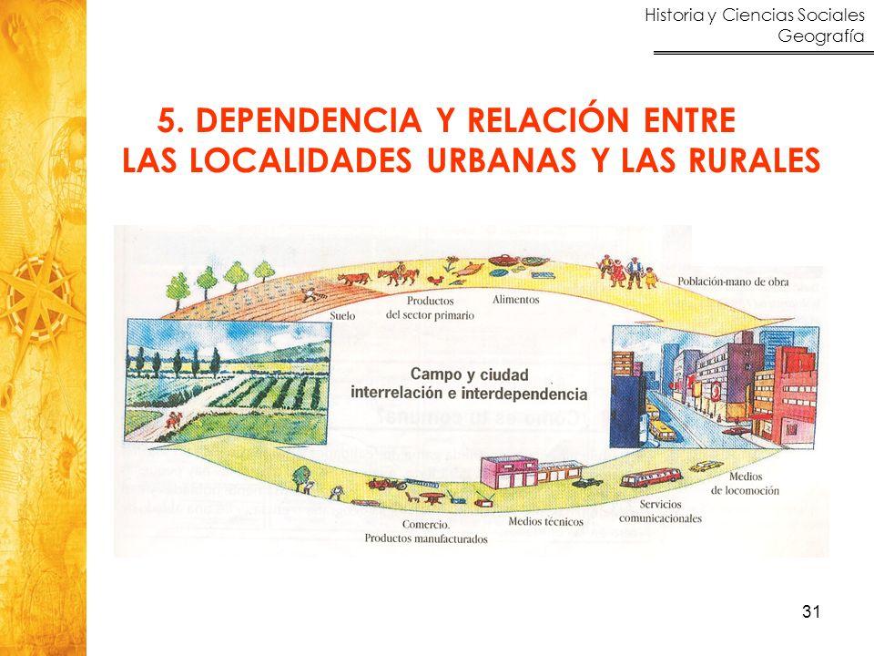 Historia y Ciencias Sociales Geografía 31 5. DEPENDENCIA Y RELACIÓN ENTRE LAS LOCALIDADES URBANAS Y LAS RURALES