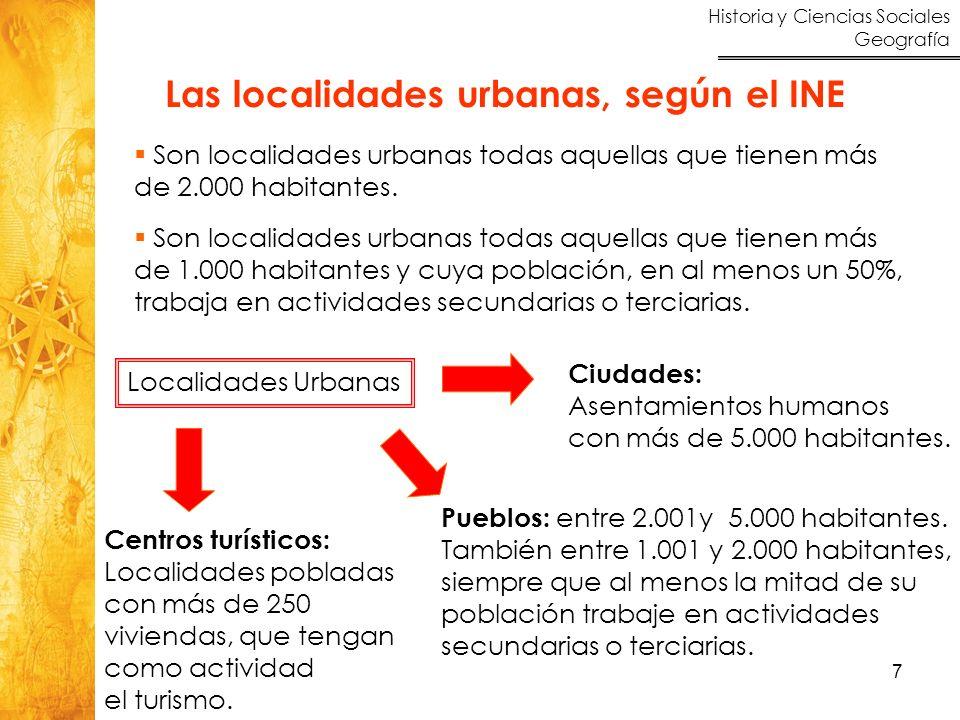 Historia y Ciencias Sociales Geografía 7 Las localidades urbanas, según el INE Son localidades urbanas todas aquellas que tienen más de 2.000 habitant