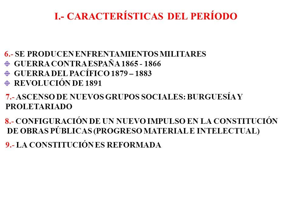 I.- CARACTERÍSTICAS DEL PERÍODO 6.- SE PRODUCEN ENFRENTAMIENTOS MILITARES GUERRA CONTRA ESPAÑA 1865 - 1866 GUERRA DEL PACÍFICO 1879 – 1883 REVOLUCIÓN