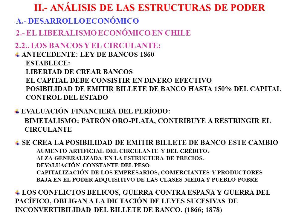 II.- ANÁLISIS DE LAS ESTRUCTURAS DE PODER A.- DESARROLLO ECONÓMICO 2.- EL LIBERALISMO ECONÓMICO EN CHILE 2.3.