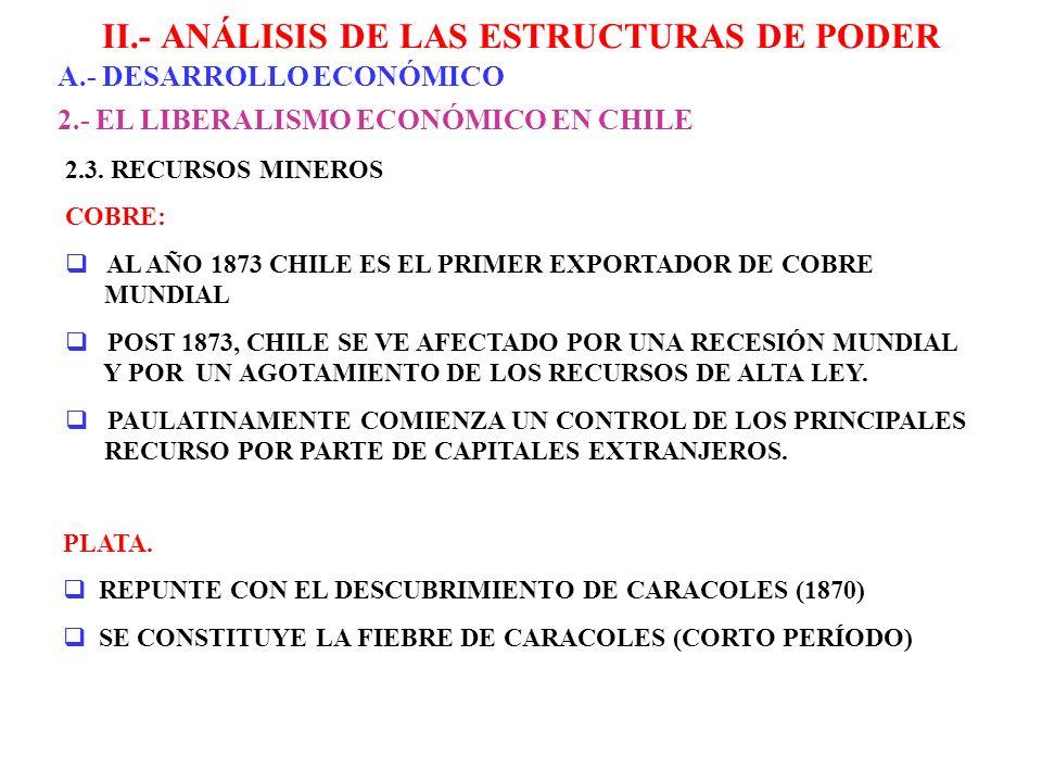 II.- ANÁLISIS DE LAS ESTRUCTURAS DE PODER A.- DESARROLLO ECONÓMICO 2.- EL LIBERALISMO ECONÓMICO EN CHILE 2.3. RECURSOS MINEROS COBRE: AL AÑO 1873 CHIL