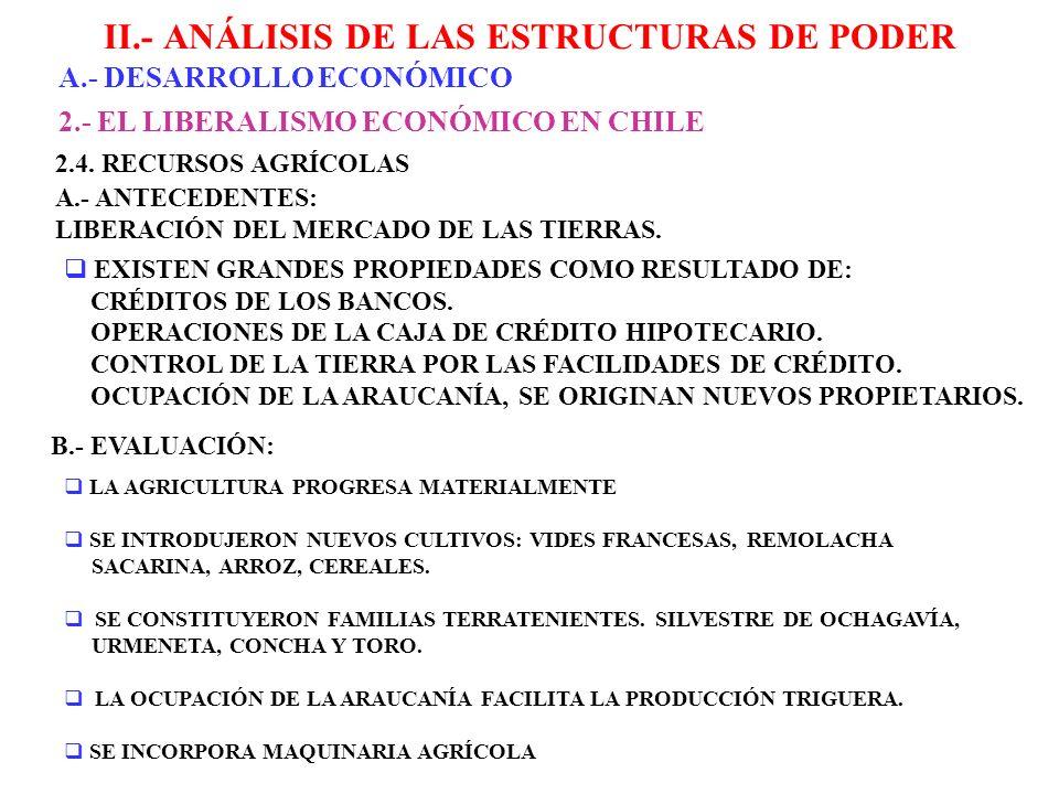 II.- ANÁLISIS DE LAS ESTRUCTURAS DE PODER A.- DESARROLLO ECONÓMICO 2.- EL LIBERALISMO ECONÓMICO EN CHILE 2.4. RECURSOS AGRÍCOLAS A.- ANTECEDENTES: LIB