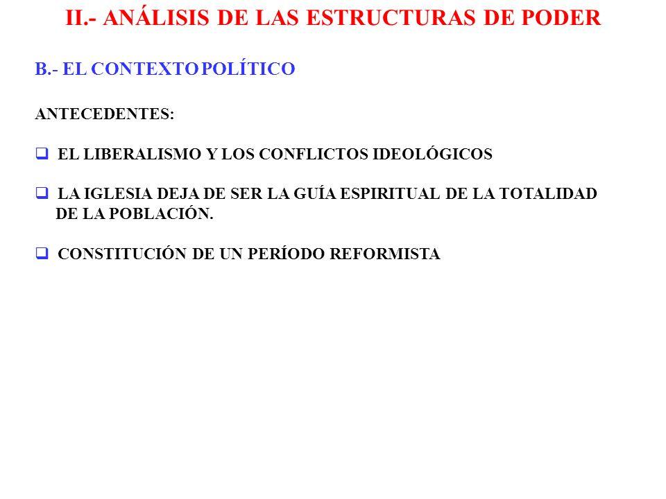 II.- ANÁLISIS DE LAS ESTRUCTURAS DE PODER LEY DE 1874, OBJETIVO IMPEDIR EL INTERVENCIONISMO ELECTORAL, ÉSTA DISPONE: EL CONTROL DE LAS ELECCIONES RECAE EN LAS JUNTAS MAYORES DE CONTRIBUYENTES QUIENES DESIGNAN A LAS JUNTAS CALIFICADORAS (SE REEMPLAZA EL PROTAGONISMO DE LAS MUNICIPALIDADES) SE INTRODUJO EL VOTO ACUMULATIVO EN LAS ELECCIONES DE DIPUTADOS LOS SENADORES SERÍAN ELEGIDOS POR PROVINCIAS SE PRESUMIÓ DE DERECHO QUE LAS PERSONAS QUE SABÍAN LEER Y ESCRIBIR POSEÍAN LA RENTA QUE LA CONSTITUCIÓN EXIGÍA PARA SER CIUDADANO B.- EL CONTEXTO POLÍTICO B.1.