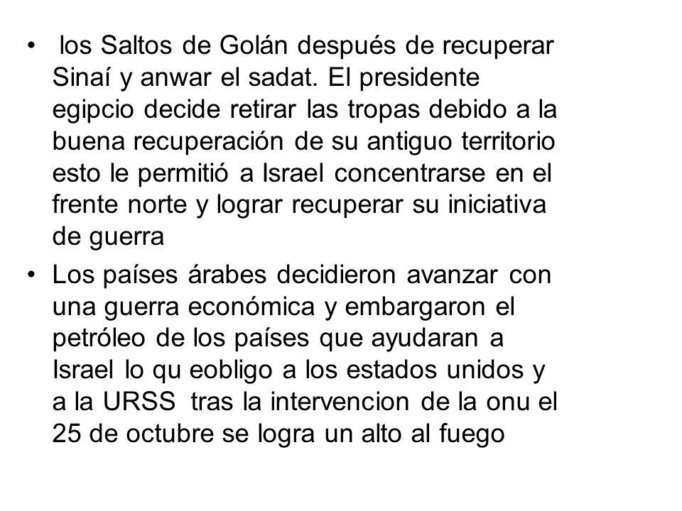 los Saltos de Golán después de recuperar Sinaí y anwar el sadat. El presidente egipcio decide retirar las tropas debido a la buena recuperación de su