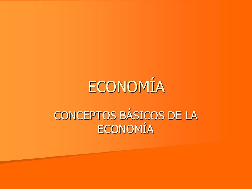 ECONOMÍA CONCEPTOS BÁSICOS DE LA ECONOMÍA