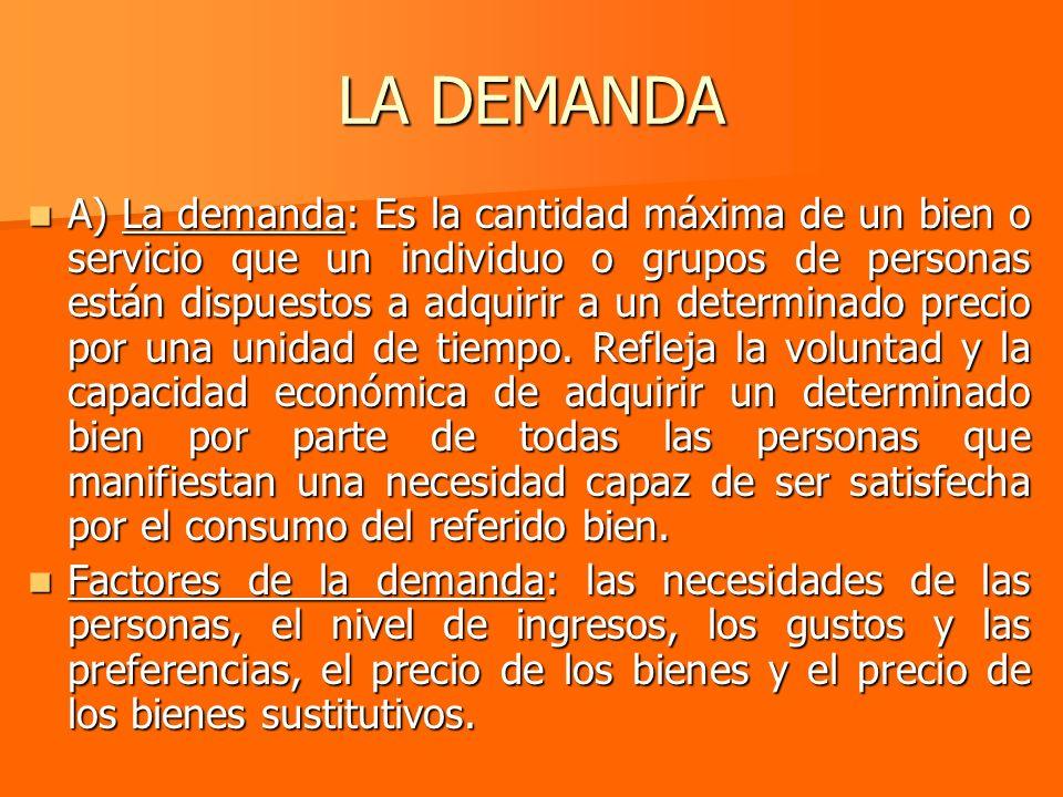 LA DEMANDA A) La demanda: Es la cantidad máxima de un bien o servicio que un individuo o grupos de personas están dispuestos a adquirir a un determina