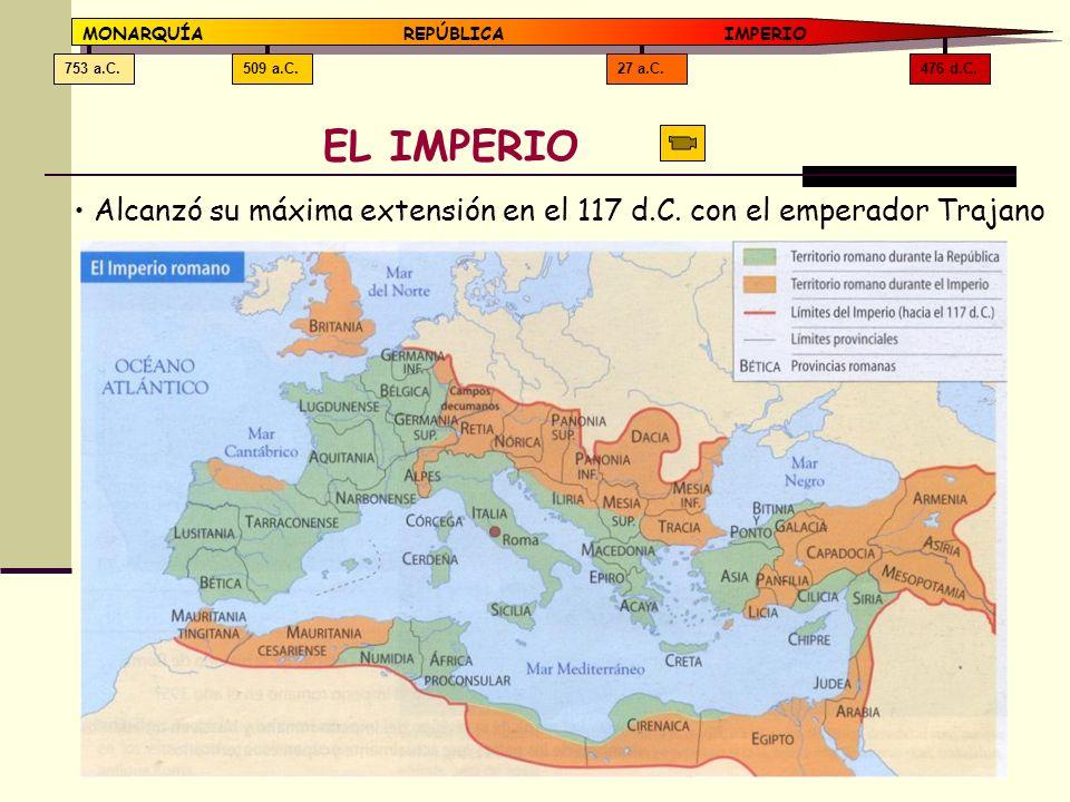 476 d.C.27 a.C.509 a.C.753 a.C. MONARQUÍAREPÚBLICA IMPERIO EL IMPERIO Alcanzó su máxima extensión en el 117 d.C. con el emperador Trajano