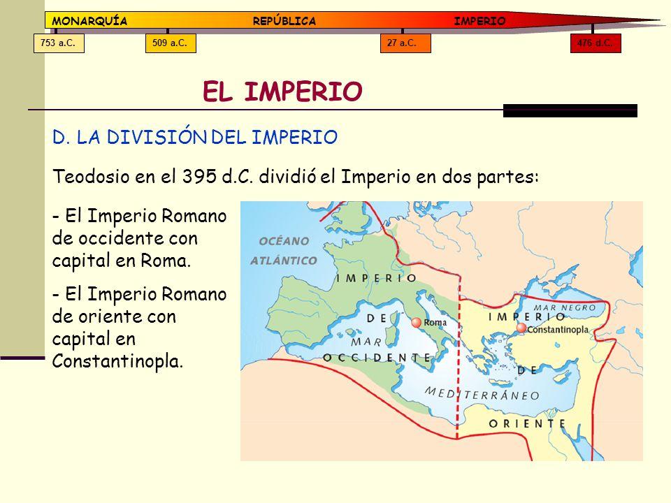 476 d.C.27 a.C.509 a.C.753 a.C. MONARQUÍAREPÚBLICA IMPERIO EL IMPERIO D.LA DIVISIÓN DEL IMPERIO Teodosio en el 395 d.C. dividió el Imperio en dos part