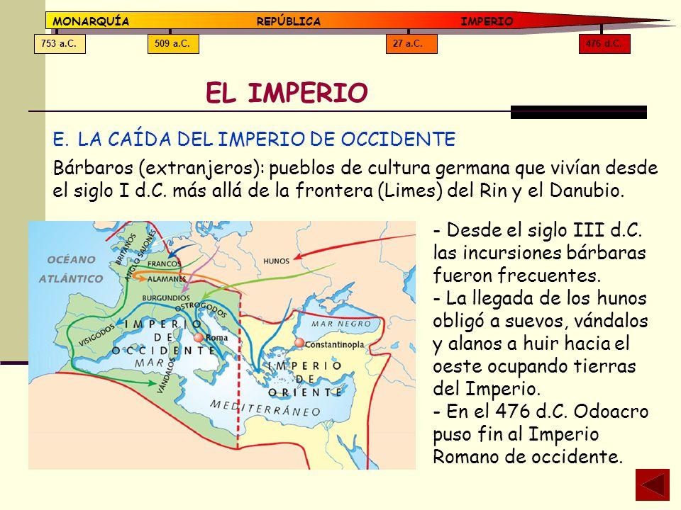 476 d.C.27 a.C.509 a.C.753 a.C. MONARQUÍAREPÚBLICA IMPERIO EL IMPERIO E.LA CAÍDA DEL IMPERIO DE OCCIDENTE Bárbaros (extranjeros): pueblos de cultura g