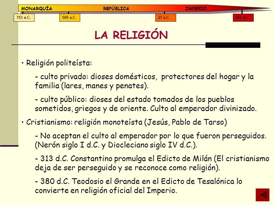 476 d.C.27 a.C.509 a.C.753 a.C. MONARQUÍAREPÚBLICA IMPERIO LA RELIGIÓN Religión politeísta: - culto privado: dioses domésticos, protectores del hogar