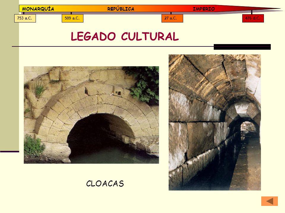 476 d.C.27 a.C.509 a.C.753 a.C. MONARQUÍAREPÚBLICA IMPERIO LEGADO CULTURAL CLOACAS