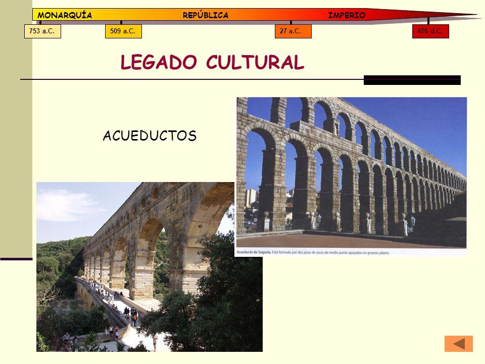 476 d.C.27 a.C.509 a.C.753 a.C. MONARQUÍAREPÚBLICA IMPERIO LEGADO CULTURAL ACUEDUCTOS