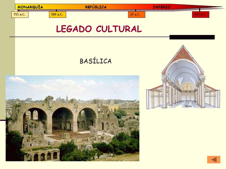 476 d.C.27 a.C.509 a.C.753 a.C. MONARQUÍAREPÚBLICA IMPERIO LEGADO CULTURAL BASÍLICA