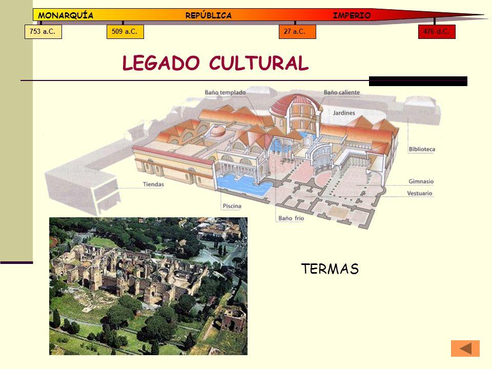 476 d.C.27 a.C.509 a.C.753 a.C. MONARQUÍAREPÚBLICA IMPERIO LEGADO CULTURAL TERMAS
