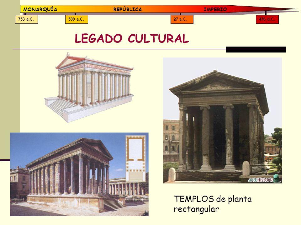 476 d.C.27 a.C.509 a.C.753 a.C. MONARQUÍAREPÚBLICA IMPERIO LEGADO CULTURAL TEMPLOS de planta rectangular
