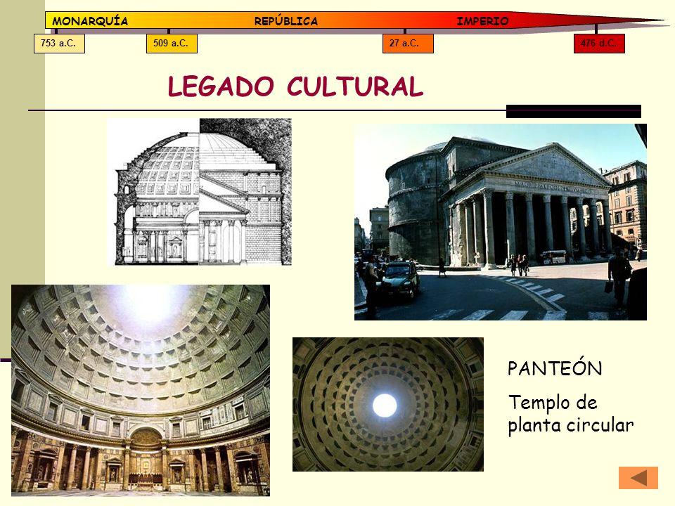 476 d.C.27 a.C.509 a.C.753 a.C. MONARQUÍAREPÚBLICA IMPERIO LEGADO CULTURAL PANTEÓN Templo de planta circular