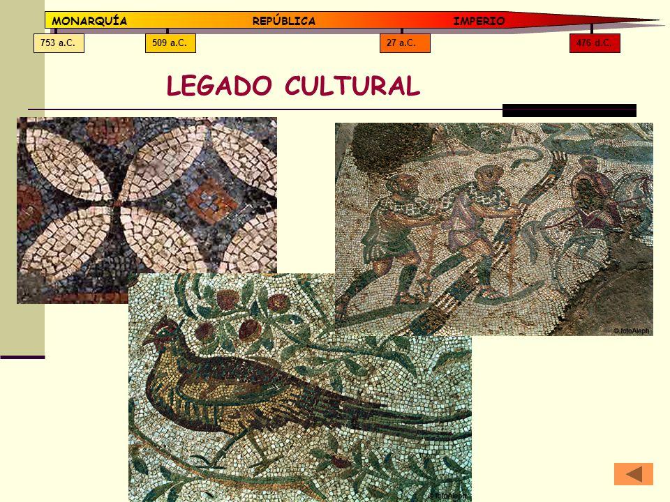 476 d.C.27 a.C.509 a.C.753 a.C. MONARQUÍAREPÚBLICA IMPERIO LEGADO CULTURAL