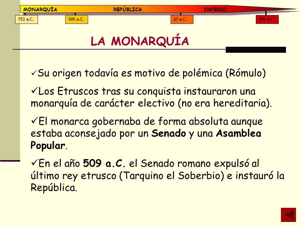 476 d.C.27 a.C.509 a.C.753 a.C. MONARQUÍAREPÚBLICA IMPERIO LA MONARQUÍA Su origen todavía es motivo de polémica (Rómulo) Los Etruscos tras su conquist