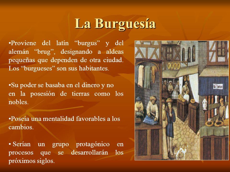 La Burguesía Proviene del latín burgus y del alemán brug, designando a aldeas pequeñas que dependen de otra ciudad. Los burgueses son sus habitantes.