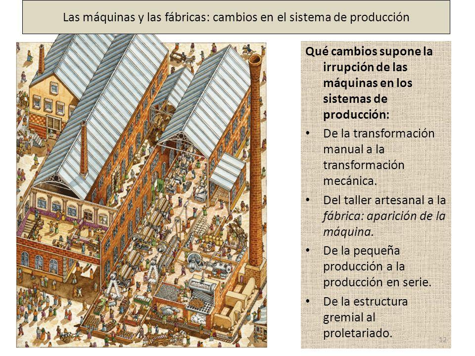 Qué cambios supone la irrupción de las máquinas en los sistemas de producción: De la transformación manual a la transformación mecánica. Del taller ar
