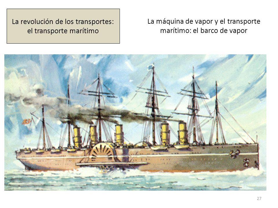 La máquina de vapor y el transporte marítimo: el barco de vapor 27 La revolución de los transportes: el transporte marítimo